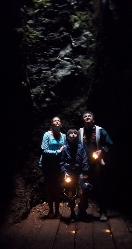 Tour group looking up open shaft – early Johannesburg gold mine