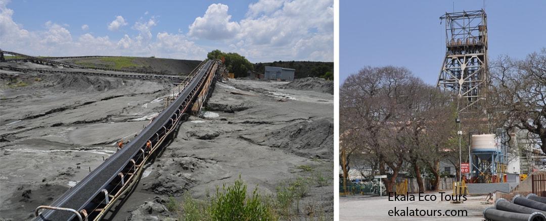 Cullinan conveyor belt after sorting and main head gear - Ekala's mine tours