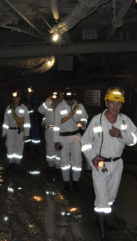 Tour group underground - Cullinan diamond mine