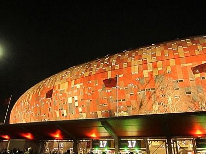 Soccer City Stadium at night